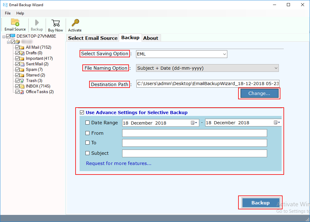 advance settings in mails backup tool