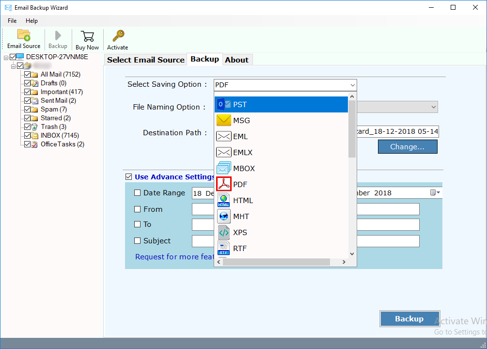 saving options in mails backup software