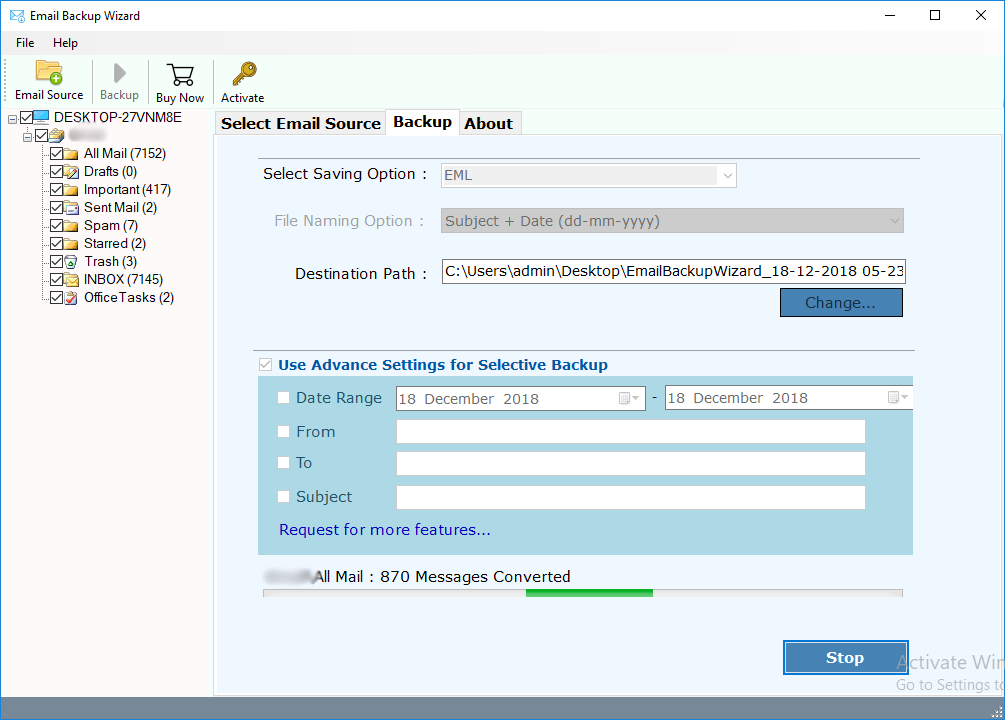mails backup conversion process