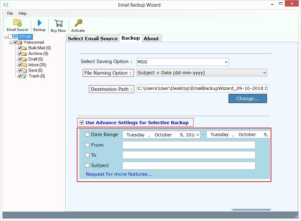 advance settings to backup yahoo emails
